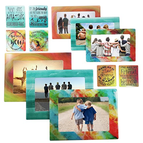 Friendship Gift 12 Piece Magnetic Picture Frames and Refrigerator Magnets with Inspirational Quotes Photo Collage by Sheen Photo Sizes 5x7 4x6 3.5x5 2.5x3 Wallet - Friend Gifts - Gift for Best Friend Personalized Graduation Frames
