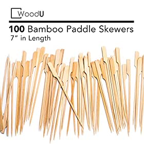 Bamboo Picks Paddle Skewers (Pack of 100), 7″ Cocktail Picks, Eco-Friendly Biodegradable