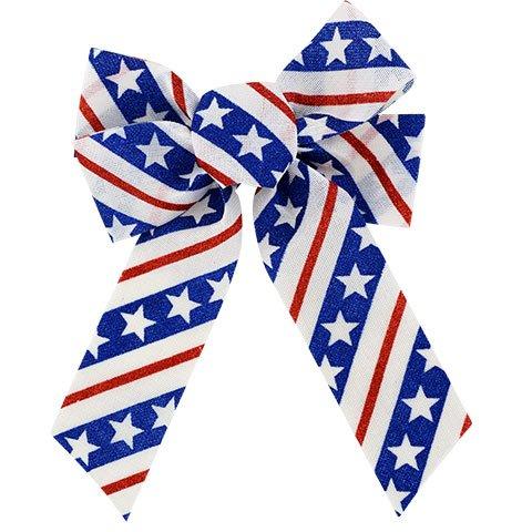 Large Patriotic Printed Burlap Bows, Set of 2, 15