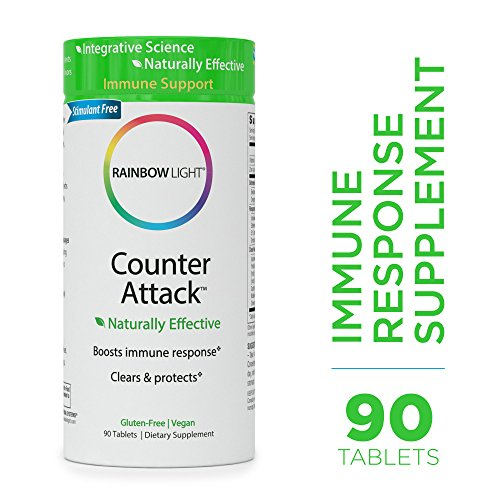 - Rainbow Light - Counter Attack - Vitamin C and Zinc Supplement; Vegan and Gluten-Free; Herbal Blend Provides Immune Support, Boosts Immune System Health and Response - 90 Tablets