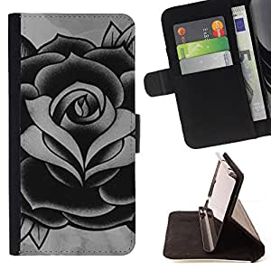 Rose Black White Grey Ink Tattoo Petal - Painting Art Smile Face Style Design PU Leather Flip Stand Case Cover FOR HTC One M9 @ The Smurfs