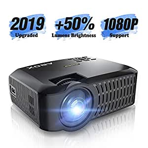 HD Projector, ABOX LCD Mini Portable HDMI Projector, 1920 x 1080p Supported, HDMI/VGA/Micro SD/AV/USB, Laptop/TV Box/Phone/PS4 for Home Theater Entertainment