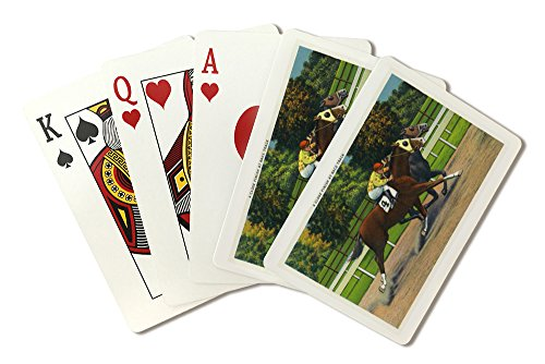 - Saratoga Springs, New York - A Close Finish at the Race Track, Horses (Playing Card Deck - 52 Card Poker Size with Jokers)