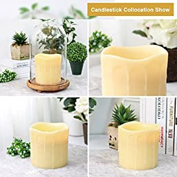 DFL 6x6 Inch Flameless Real Wax Dripping Led Candle with Timer,battery-operated,ivory
