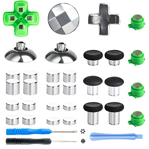 Z&Hveez Magnetic Metal Mod Buttons for PS4 Controller, Magnetic Thumbsticks & Adjustable D-Pads & ABXY Button Replacement Parts for PS4 Slim / PS4 Pro/Playstation 4 Controllers