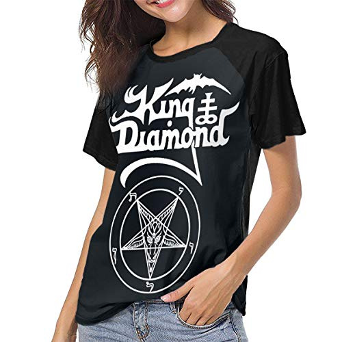 HYSLD King Diamond The Graveyard Women's Casual Short Sleeve T-Shirts Crew Neck Wicking Baseball Tee Tops Black