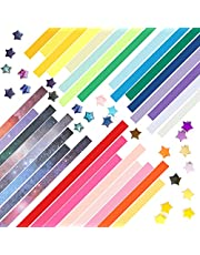Stars Papers, 24 * 1cm 1910 Sheets Lucky Origami Stars for DIY Paper Arts Crafts (Candy and Starry Sky Gradient)