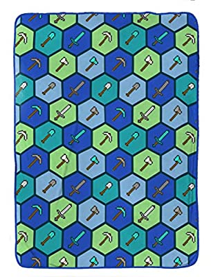 Jay Franco Minecraft Blanket - Measures 62 x 90 inches, Kids Bedding Features Axe, Sword, Crossbow & Arrow - Fade Resistant Super Soft Fleece - (Official Minecraft Product)