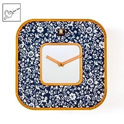 Kintrot Modern Cuckoo Clock Square Wall Clock Blue and White Porcelain Wood Wall Bird Cuckoo Clock
