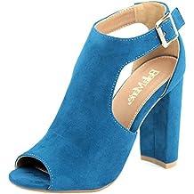 Bella Marie Shirley-52 Women's peep toe d'orsay buckle ankle block heel suede pumps