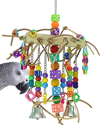 Bonka Bird Toys 1746 Leather Chain Waterfall Tower Toy Rope Parrot Cage Dice Cages African Grey Amazon Conure Wooden Perch Aviary ()