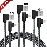 3-Pack(3-6-10FT) Right Angle iPhone Charger 90 Degree Data Cable Nylon Braided Compatible with iPhone Xs/Max/XS/XR/7/7Plus/X/8/8Plus/6S/6 Plus/SE(Black Gray)