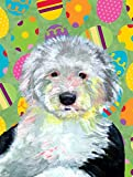 Cheap Caroline's Treasures LH9441CHF Old English Sheepdog Easter Eggtravaganza Flag Canvas, Large, Multicolor
