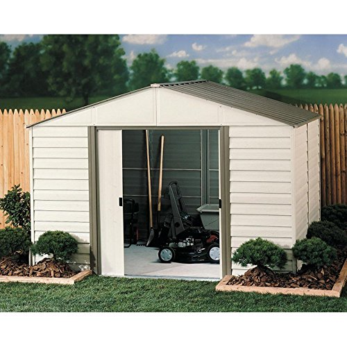 (Arrow Shed VM108 Milford Steel 10 x 8 ft. High Gable Vinyl Coated Galvanized Grey Bark/Almond Storage Shed)