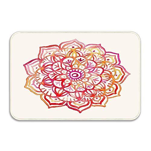 2' Medallion Insert - Huayuanhurug Watercolor Medallion in Sunset Colors Door Mats Gift 16 X 24 Inches Entrance Floor Door Indoor and Outdoor with Rubber Backing