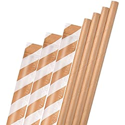 Dye-Free Paper Straws,Plasticless 200 Pack Individually Wrapped Biodegradable Straws,Food-Safe 7 3/4 inches Long Made from Brown Kraft