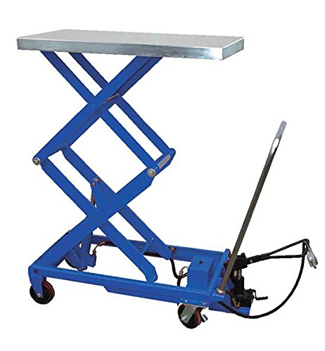 Air Scissor Lift - BAIR-D Series; Construction: Steel; Platform Size (W x L): 20'' x 35-1/2''; Capacity (LBS): 800; Service Range: 13-3/4'' to 51''; Caster Size: 5'' x 1-1/2'' by Beacon World Class Products