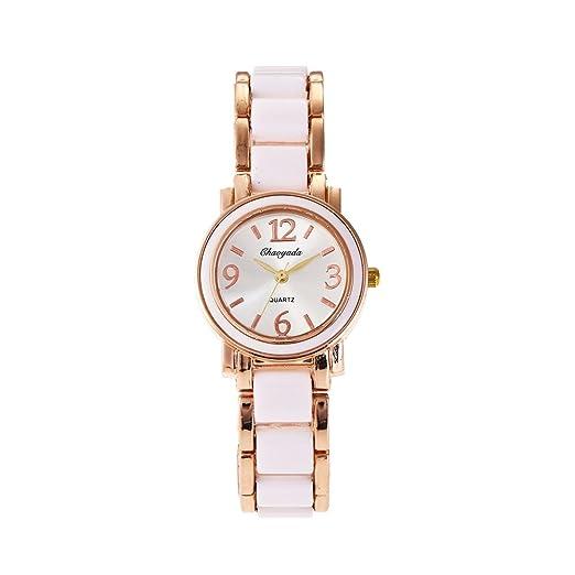 HWCOO Reloj de pulsera de mujer reloj de imitación de cerámica de moda Diamantes de mujer reloj de estudiante británico (Color : 2) : Amazon.es: Relojes
