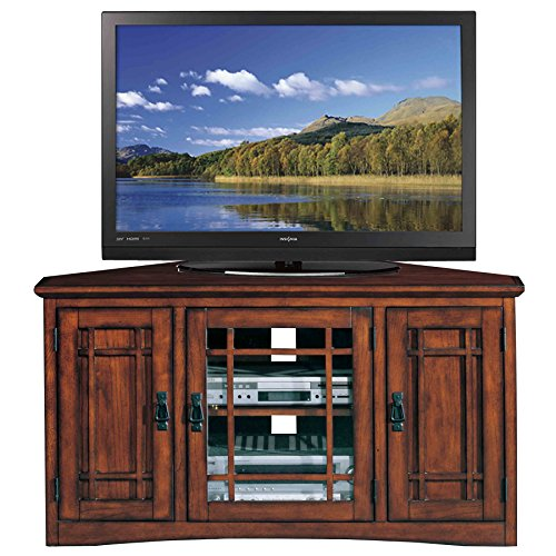 Solid Wood Corner Tv Stand - Leick Riley Holliday Mission Corner TV Stand with Storage, 46-Inch, Oak