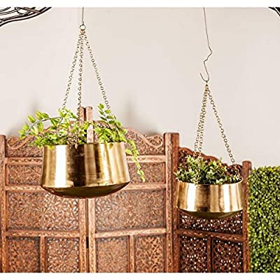 Studio 350 Set of 2 Modern 5 and 7 Inch Round Gold Hanging Planters by : Garden & Outdoor