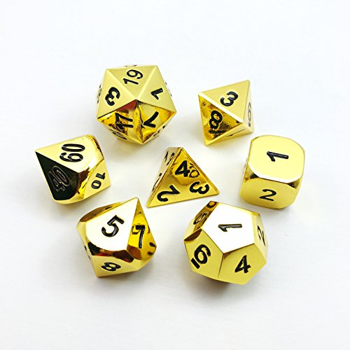 (Set of 7 Deluxe Metal Golden Polyhedral Game Dice Set, Golden RPG Game Dice 7pcs Set of d4 d6 d8 d10 d12 d20 d%)