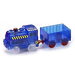 ONTOPON The Magic Train Car for Magic Bends Track Set Modular and Brilliant in The Dark (Blue, with 1 Compartment)