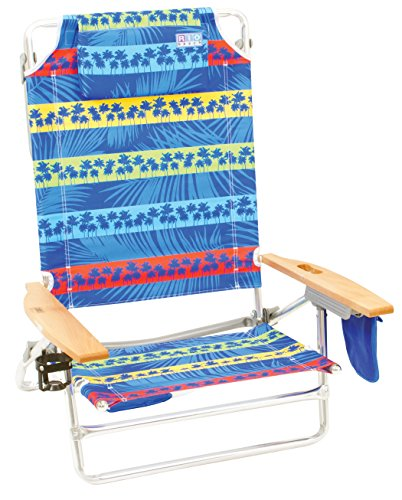 Rio Brands The Big Kahuna Beach Chair - Palms Blue Stripe