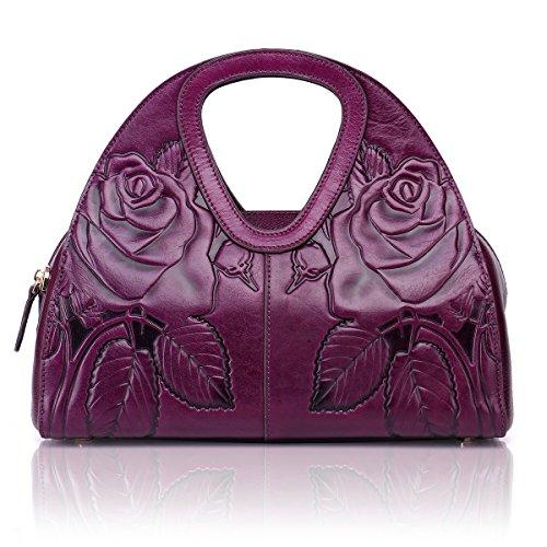 Embossed APHISON Tote Handbag Shoulder Leather Unique Purple Purple Floral Handle Ladies Fashion Design Bags Top qBArnETBgw