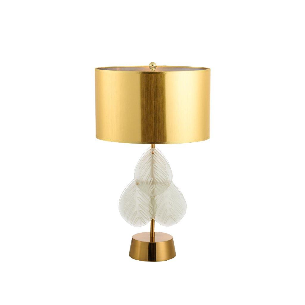 LQQGXL Glass crystal LED luxury desk lamp with cloth color bedside lamp bedroom bedroom E27 Simple lamp ( Color : Gold )