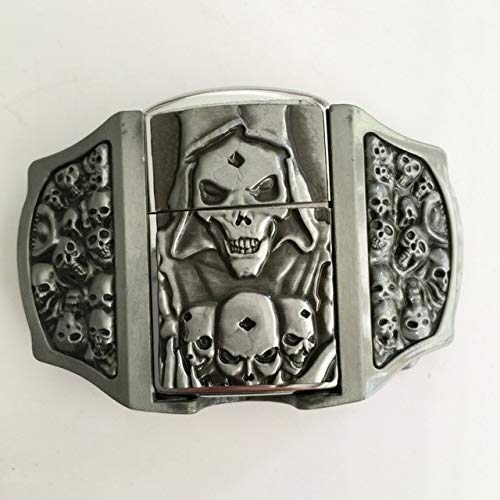 (Buckes - Retail 3 Different New Style 3D Silver Skull Lighter Belt Buckle with Pewter Fashion Man Woman Jeans Accessories - (Color: C))