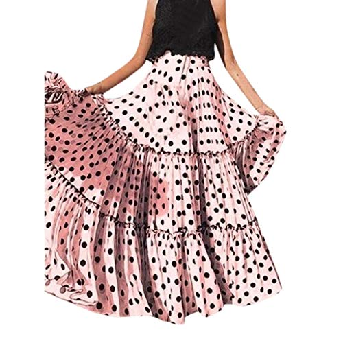KIKOY Women Fashion High Waist Polka Dot Skirt Loose Ruffled Pleated Skirt Oversize Pink