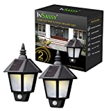 Solar Wall Sconce Lights Outdoor Security with Motion Sensor by InSassy - Outside Weatherproof Home Porch Patio LED Wall Lantern Lamp - Warm White - 2 Pack