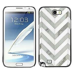 TopCaseStore / la caja del caucho duro de la cubierta de protección de la piel - Chevron White Gray Metal 3D Pattern - Samsung Galaxy Note 2 N7100