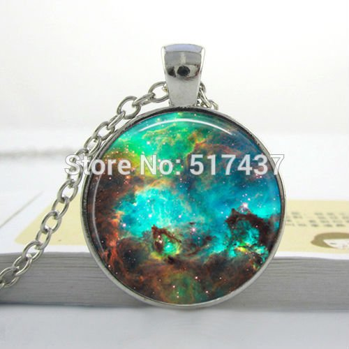 Pretty Lee Free Shipping Nebula Turquoise Space Pendant Astronomy Geek Jewelry Sci-Fi Science Galaxy Space Necklace Glass Dome ()