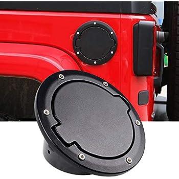YANWEN Matte Black Upgrade Aluminum Fuel Filler Door Cover Gas Tank Cap for 2007-2017 Jeep Wrangler Unlimited JK /& Unlimited 2//4 Door