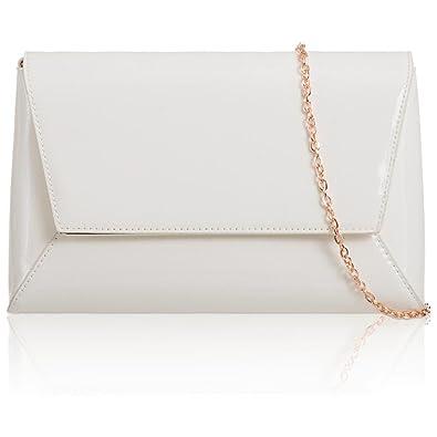 Xardi London Grande enveloppe géométrique Patent pour femmes d'embrayage de mariage Bal Femme Soirée Sacs NEUF - Blanc - blanc 2fEBMis,