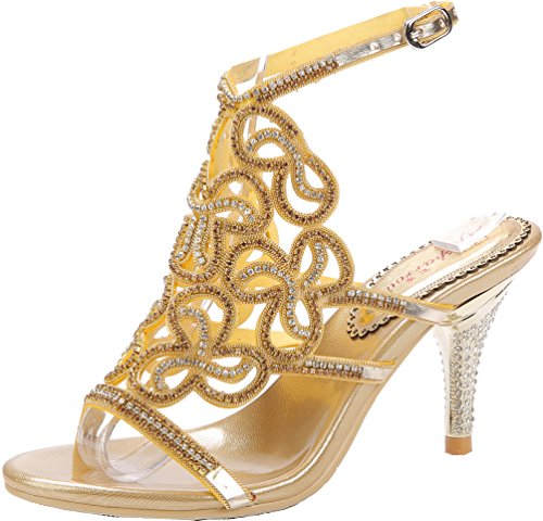 Dress Abby Fiber Show Bride Gold Cone Party Bridesmaid Wedding Micro L019 Womens Unique Heel Sandals Fq7Cw8aF