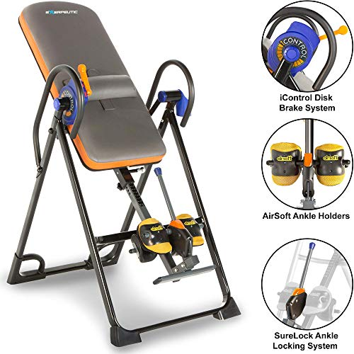 Exerpeutic 975SL All Inclusive Heavy Duty 350 lbs Capacity Inversion Table with Air Soft Ankle Cushions, Surelock and iControl Systems (Renewed)