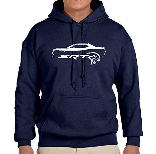 Dodge Challenger SRT Hellcat Classic Outline Design Sweatshirt Hoodie 2XL navy - Of Outline Cat