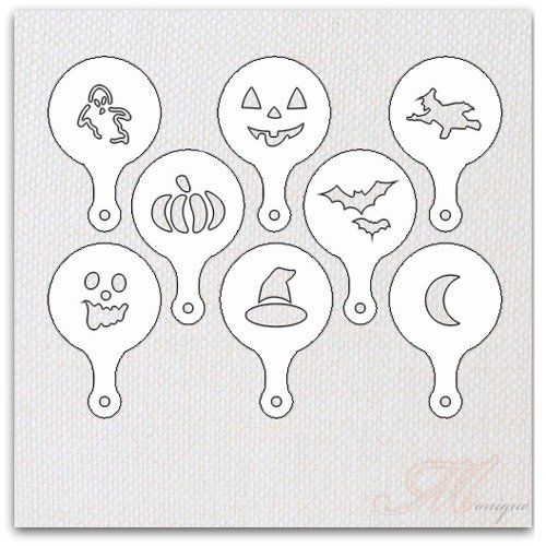 Set 8 Piece Hot Chocolate and Cupcake Stencil for Cake Decorating, Halloween Design