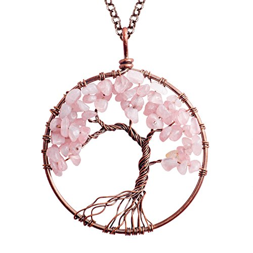 Fashion Tree of Life Pendant Necklace Handmade Rose Quartz Gemstone Beads Chakra Statement Jewelry for Women Mothers Day Gift (Mothers Day Gifts Cheap)