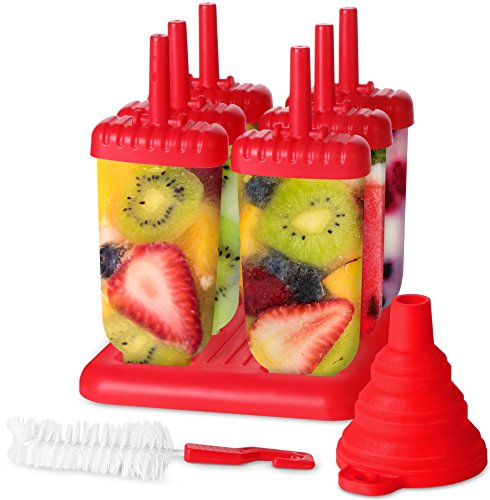 Utopia Home Top-Quality Plastic Popsicle Mold Set - 6 Ice Pop Makers - BPA Free - Folding Funnel & Cleaning Brush