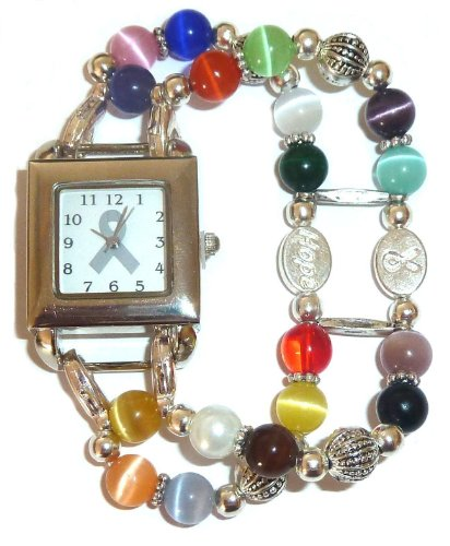 Awareness - Watch - Multi Cancer Awareness watch with 18 colors (Beading Cancer Breast Watch Awareness)