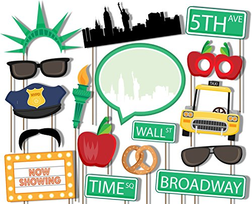 Birthday Galore New York City NYC Photo Booth Props Kit - 20 Pack Party Camera Props Fully Assembled ()