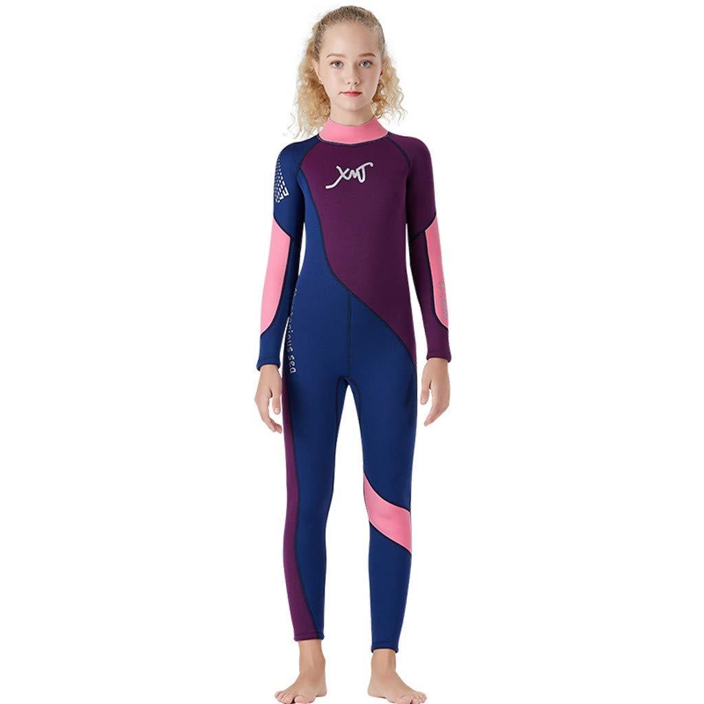 Kids Scuba One-Piece Diving Suit Neoprene Snorkeling Wetsuit Surfing Swimwear Purple