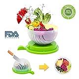 Salad Cutter Bowl, Fast Fresh Salad Slicer 60 Seconds Salad maker Vegetable Fruit Bowl Cutter & Strainer Dual Use - Gift Package Bonus included(Green)