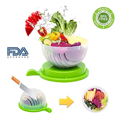 Salad Cutter Bowl, Fast Fresh Salad Slicer 60 Seconds Salad maker Vegetable Fruit Bowl Cutter & Strainer Dual Use - Gift Package Bonus included(Green) by exeblue (Image #7)