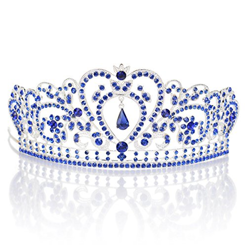 [Remedios Crystal Wedding Prom Pageant Tiara Headpiece Bridal Princess Crown Headband With Pendant, Silver & Royal] (Beauty Pageant Queen Costume)