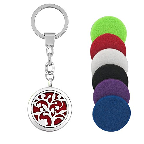 LilyJewelry Aromatherapy Essential Oil Diffuser Family Tree Of Life Locket Keychain