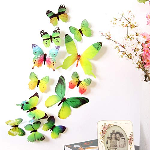Erovy - New and New Qualified Wall Stickers 12pcs Decal Wall Stickers Home Decorations 3D Butterfly Rainbow PVC Wallpaper for Living Room -
